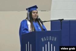Deondra Jackson speaks at her graduation at Waubun-Ogema school in Waubun, Minnesota.