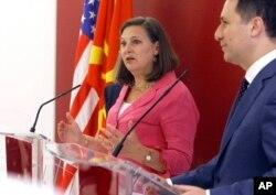 Американската помошничка-државна секретарка за Европа и Евроазија Викторија Нуланд на прес-конференцијата со премиерот на Репубика Македонија Никола Груевски