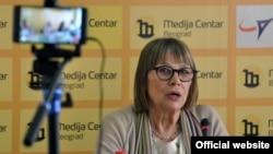Nataša Kandić, osnivačica Fonda za humanitarni pravo na konferenciji za štampu 23. maja 2018. (Foto: Medijacentar Beograd)