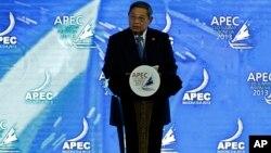 Tổng thống Indonesia Susilo Bambang Yudhoyono đọc diễn văn khai mạc hội nghị APEC, 6/10/13
