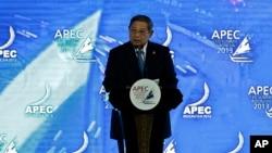 Presiden Susilo Bambang Yudhoyono saat menyampaikan pidato pembukaan KTT APEC di Bali (6/10).