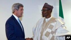 Shugaba Buhari da sakataren harkokin wajen Amurka John Kerry.