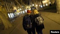 Same-sex couple Mima Simic and Marta Sisak walk in Zagreb, Croatia, Nov. 26, 2013.