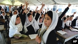Afghan school girls studying under a tent in Kabul.(AP)