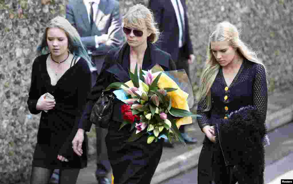 Actress and former model Deborah Leng (C) arrives at the funeral service for Peaches Geldof at the St Mary Magdalene and St Lawrence church in Davington, southeast England. Geldof was found dead at her home on April 7, 2014.