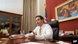 US Senator Marco Rubio in his Washington office