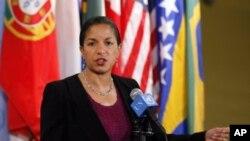 Susan Rice, balozi wa Marekani kwenye Umoja wa mataifa akiongea na waandishi wa habari baada ya baraza la usalama kukutana kuzungumzia suala la Sudan.