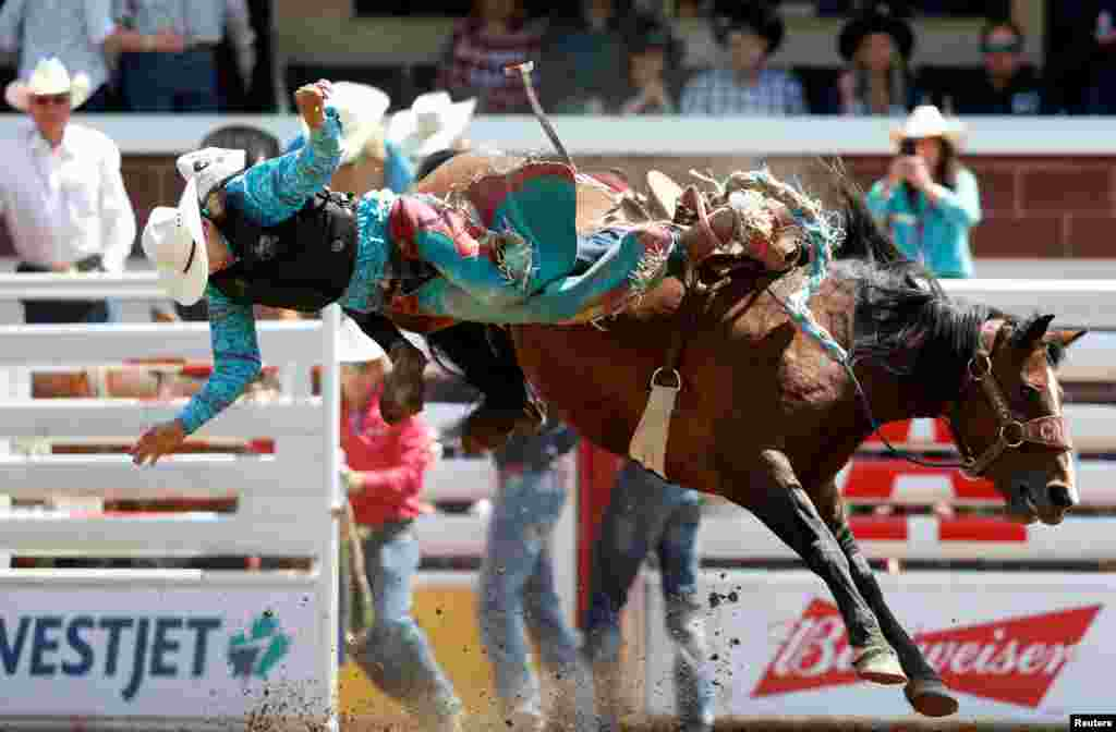 Kilby Kittson of Browning, Montana, gets tossed off the horse Betrayed Cankaid in the junior saddle bronc event during the Calgary Stampede rodeo in Calgary, Alberta, Canada, July 7, 2019.