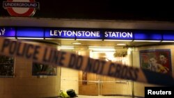 Police tape is seen at a crime scene at Leytonstone underground station in east London, Britain Dec. 6, 2015. Police were called to reports of a number of people stabbed at the station in east London and a man threatening other people with a knife.