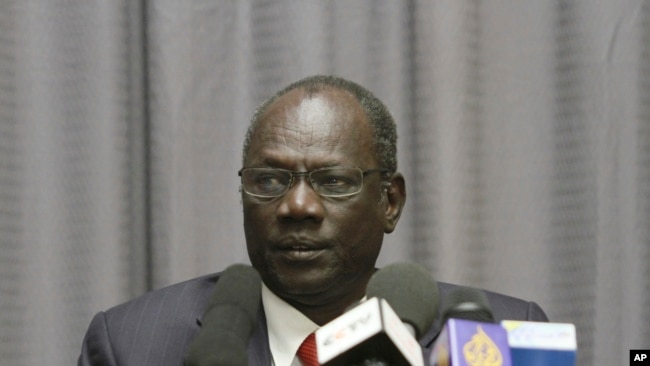 FILE - South Sudan's Information Minister Michael Makuei.