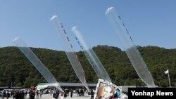 지난달 10일 탈북자 단체가 경기도 파주에서 대북전단 풍선을 날리고 있는 모습 (자료사진)