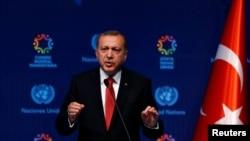 土耳其總統埃爾多安星期二在聯合國人權會議攝上。