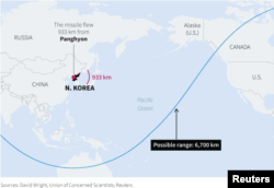North Korea said Tuesday it successfully test-launched an intercontinental ballistic missile (ICBM), which flew 933 km reaching an altitude of 2,802 km. One independent analyst suggests the missile could potentially reach a maximum range of around 6,700 k.