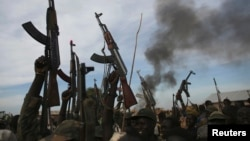 Rebel fighters hold up their rifles near a brushfire in a rebel-controlled territory in Upper Nile State, South Sudan, Feb. 13, 2014.