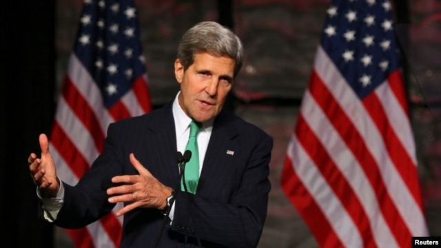U.S. Secretary of State John Kerry addresses the Select USA Investment Summit in Washington on November 1, 2013.