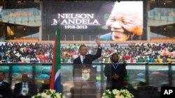 美國總統奧巴馬出席曼德拉的追悼儀式