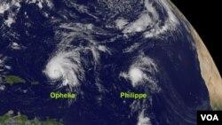 Al este de Ophelia, la tormenta tropical Philippe se dirige hacia las Bahamas.