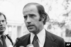 In this Dec. 12, 1972 file photo Joe Biden, the newly-elected Democratic Senator from Delaware, speaks in Washington. Biden has won the last few delegates he needed to clinch the Democratic nomination for president.