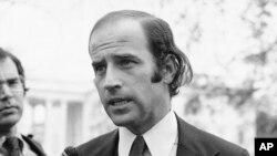 FILE - In this Dec. 12, 1972 file photo Joe Biden, the newly-elected Democratic Senator from Delaware, speaks in Washington.