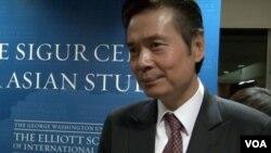 金溥聪在乔治•华盛顿大学发表演讲。(美国之音 甄小莺拍摄)