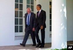 Tổng thống Obama gặp Thượng nghị sĩ Bernie Sanders tại Tòa Bạch Ốc ngày 9/6/2016.