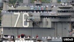 2018年5月29日,美国海军里根号航空母舰离开日本横须贺。(美国海军图片)