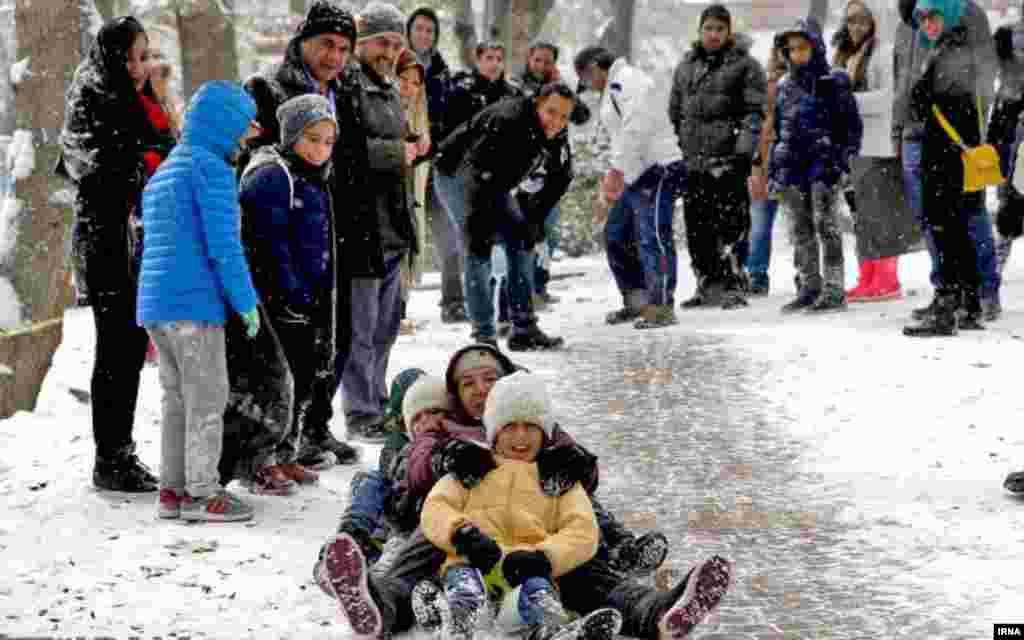 شهروندان تهرانی در پارک قیطریه برف بازی می کنند