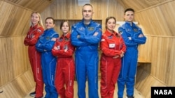 Crew members of the SIRIUS 18/19 mission are shown in this undated photo. During the four-month isolation mission, participants were confined together at the Institute of Biomedical Problems in Moscow, Russia. (Credits: NASA and the Institute for Biomedical Problems)