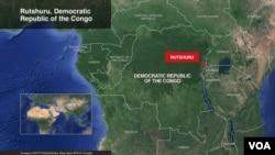 Map showing Rutshuru, DRC