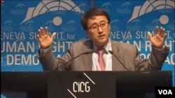 북한 해외 노동자 출신의 탈북자 임일 씨가 24일 스위스 제네바에서 열린 국제 인권회의에서 연설하고 있다.