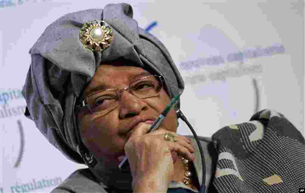 2011: President Ellen Johnson Sirleaf, Liberia (with Karman and Gbowee). Sirleaf rose to international prominence in 2005 when she became Africa's first elected female leader. (AP)