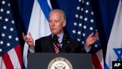 12月6日,美國副總統拜登在華盛頓智庫布魯金斯學會主辦的一個中東論壇上講話。