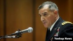 25일 서울 용산 미한연합사령부에서 커티스 스카파로티 사령관이 기자간담회를 하고 있다.