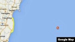 El epicentro del terremoto -marcado en la imagen por un indicador-, se ubicó en el océano Pacífico a unos 475 kilómetros de Tokio.