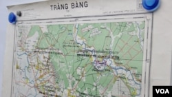 A close-up look at one of the maps received from the United Nations at Peace Palace, August 20, 2015. (Hean Socheata/VOA Khmer)