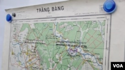 A close up on one of the maps receiving from the United Nations (UN) displayed on whiteboard at Peace Palace on August 20, 2015. (Hean Socheata/VOA Khmer)