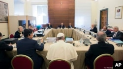 Pope Francis attends the IOR (Institute for Religious Works) Vatican Bank's council, at the Vatican, Nov. 24, 2015.
