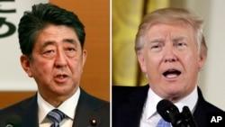 도널드 트럼프 미국 대통령(오른쪽)과 아베 신조 일본 총리.