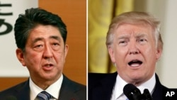 Foto koninezon ant Premye minis Japonè a, Shinzo Abe, agoch, ak Prezidan Ameriken an, Donald Trump adwat.