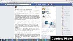 """Trong một status mới đây trên Facebook, """"cô"""" Nguyễn Thuỳ Trang còn khẳng định rằng vụ bắt giam và khởi tố luật sư Nguyễn Văn Đài chắc chắn là do chính quyền thành phố Hà Nội (chứ không phải Bộ Công an như báo chí đưa tin) thực hiện."""