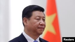China's President Xi Jinping stands next to a Chinese national flag during a welcoming ceremony at the Great Hall of the People, in Beijing, Nov. 13, 2013.