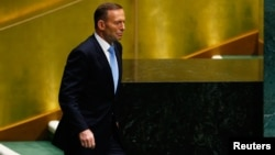 FILE - Tony Abbott, Prime Minister of Australia, prepares to address the 69th United Nations General Assembly at the U.N. headquarters in New York. Sept. 25, 2014.