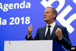 European Council President Donald Tusk speaks during a media conference at the conclusion of an EU and Western Balkan heads of state summit at the National Palace of Culture in Sofia, Bulgaria, May 17, 2018.