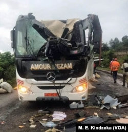 A damaged bus in Akum, Cameroon, Sept. 9, 2018.