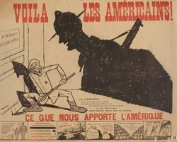 """Here Are the Americans!"" says a French poster from World War One, showing a large shadow of an American soldier over a German soldier"
