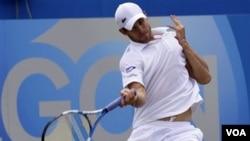 """Andy Roddick mengembalikan pukulan bola Andy Murray dalam pertandingan semifinal kejuaraan """"the Queen's Club grass court"""" di London, Inggris, 11 Juni 2011. (Foto:dok)"""