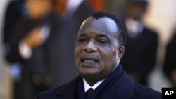 FILE - Republic of Congo President Denis Sassou Nguesso, addresses reporters.