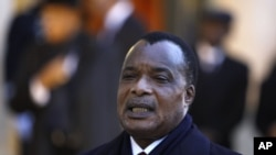 FILE - Republic of Congo President Denis Sassou Nguesso, February 8, 2012.