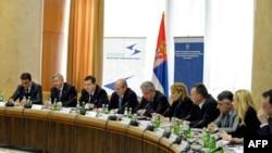 Zamenik predsednika Vlade Republike Srbije i ministar unutrašnjih poslova Ivica Dačić otvorio je forum Regionalne inicijative za migracije, azil i izbegla lica (MARRI) u Beogradu, 3. aprila 2012.