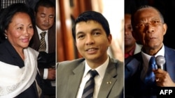 Madagascar's presidential candidates (L-R) Lalao Ravalomanana, Andry Rajoelina and Didier Ratsiraka. Madagascar's electoral court has removed the names of three presidential hopefuls, (File photo).